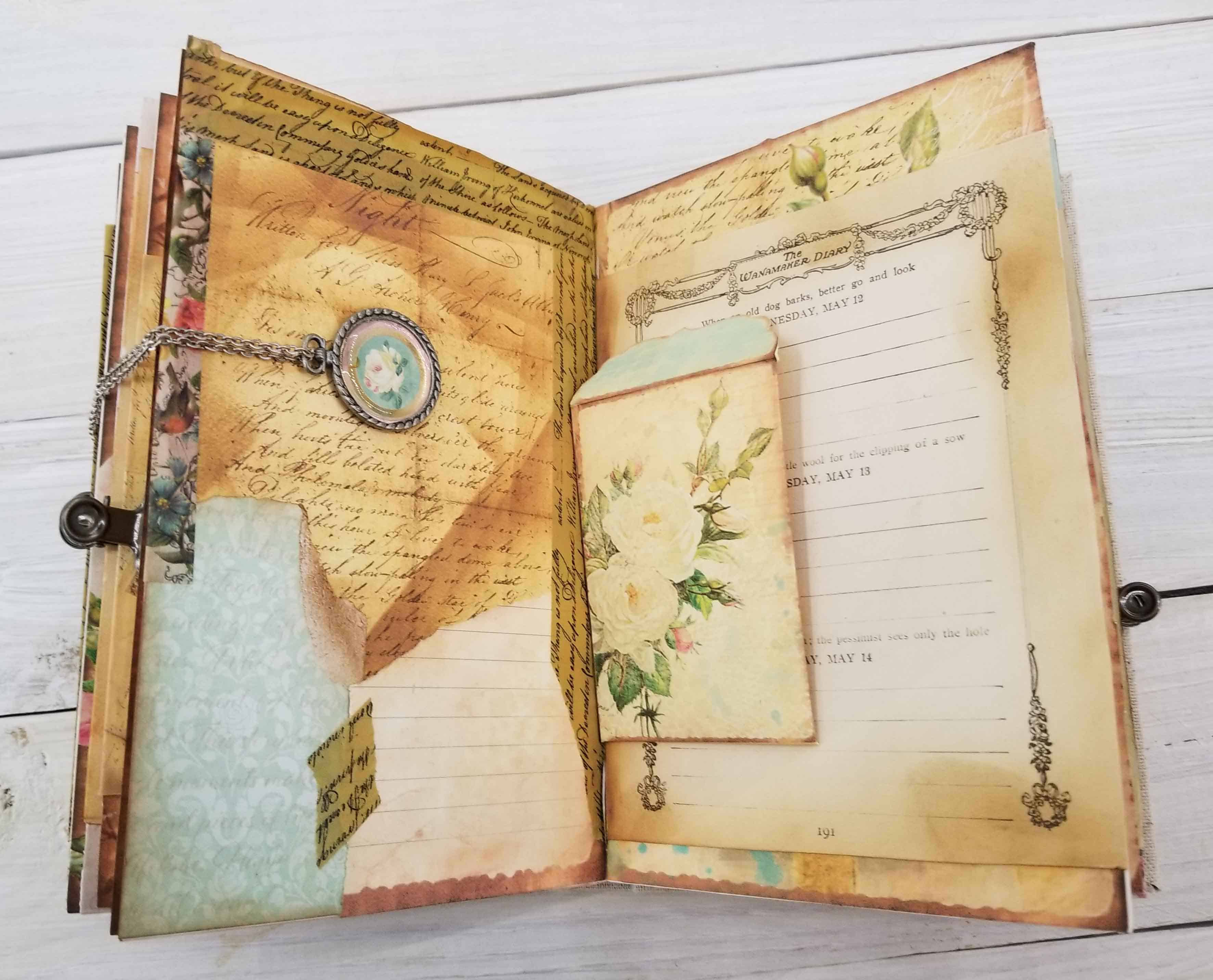Rose Garden Diary Junk Journal Compass And Ink As shiori reads through the pages. rose garden diary junk journal